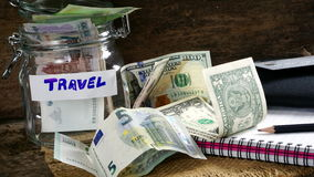 US dollars, Korean Won, Euro bills and some money bills and banknotes. Stock Photography