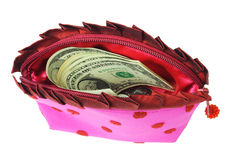 US dollars in lady's pink purse Royalty Free Stock Images