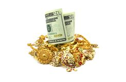 US Dollars or Money and Gold Jewelry Stock Photos