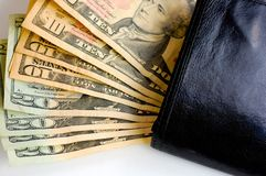 Us dollars money on wallet Royalty Free Stock Image
