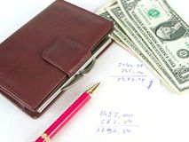 US dollars, notebook and pen Royalty Free Stock Image