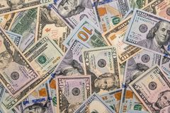 Us dollars pile as background. close up Stock Photos