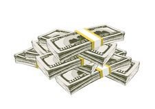 US dollars are piled up. A lot of money of banknotes for a hundred US dollars piled up stock illustration