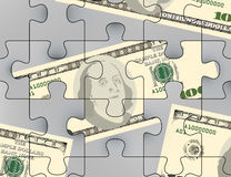 Us dollars puzzle scene Royalty Free Stock Photography