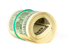 US dollars rolled up Stock Image