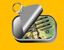 US Dollars in sardine can Stock Images