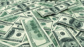 US Dollars on the table. Looped animation. HD 1080 stock video footage