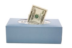 Us dollars in a tissue box Stock Image