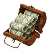 US dollars in a trunk Royalty Free Stock Images