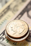 US-Dollars und Cents Stockfotos