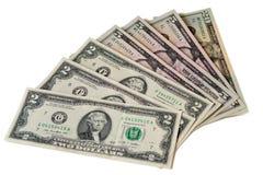 US Dollars : US dollar bills isolated on white background. Royalty Free Stock Images