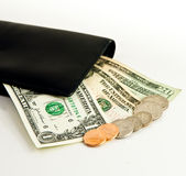 US Dollars and wallet Stock Image