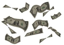 Us dollars on white backgrond royalty free stock photos