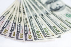 US dollars on a white background. Money Stock Images