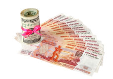 US dollars wrapped by ribbon and russian money Royalty Free Stock Photo