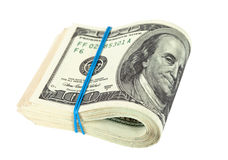 US dollars wrapped by rubber Stock Photo