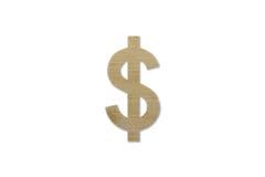 US dollarsymbol som göras från isolerat trä på vit bakgrund arkivbilder