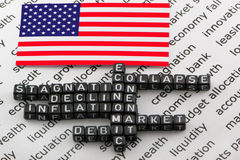 US economic problems. On a white background Stock Images