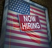 US Economy Jobs. And hiring employees in the United States as an American economic rise and inflation with wage increases and employment demand as a 3D Royalty Free Stock Photography