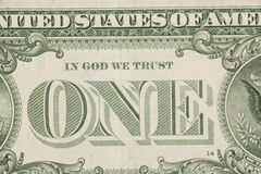 US ein Dollarschein-Nahaufnahmemakro, 1 usd Banknote Lizenzfreie Stockfotografie