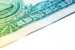 US ein Dollarschein-Nahaufnahmemakro, 1 usd Banknote Stockbild