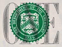US eine Dollarscheinnahaufnahme, 1 usd Fiskusdichtung, USA-Bundes eingezogen Lizenzfreie Stockfotos