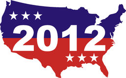 US Election 2012. USA silouhette with stars and 2012 stock illustration