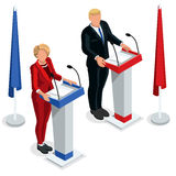 Us Election 2016 Debate Pools Icon Set 03. Us Election 2016 infographic Democrat Republican live stream debate convention. Usa symbol Presidential candidate icon Stock Photography