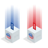 Us Election 2016 infographic. Ballot Box for an election. Party presidential debate endorsement Stock Images