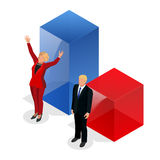 Us Election 2016 infographic Democrat Republican convention hall. Party presidential debate endorsement. Stock Image