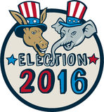 US Election 2016 Mascot Donkey Elephant Circle Cartoon Stock Photo