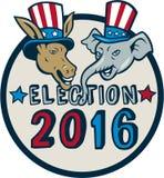 US Election 2016 Mascot Donkey Elephant Circle Cartoon. Illustration of democrat donkey head mascot and republican elephant head mascot wearing hat with stars Royalty Free Illustration