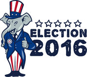 US Election 2016 Republican Mascot Thumbs Up Cartoon. Illustration of a republican elephant mascot of the republican party standing wearing hat and suit thumbs Royalty Free Stock Image