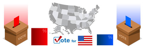 Us Election 2016 Winner Pools Icon Set America Map Ballot Vote. Us Election 2016 winner news. Republican candidate win infographic. Vote pools result. Usa Stock Photo