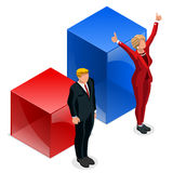 Us Election 2016 Winner Pools Icon Set Democrat Win. Us Election 2016 winner news. Democrat candidate win infographic. Vote pools result. Usa Presidential debate Royalty Free Stock Photography