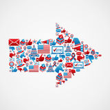 US elections icons in arrow shape stock illustration