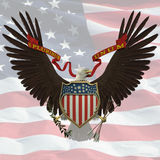 US Emblem. Over the US flag background Royalty Free Stock Photo