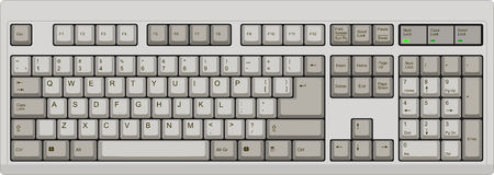 US English qwerty computer keyboard. Grey. Vector illustration of a US English qwerty computer keyboard. All sections are well organized and sorted for designer Stock Image