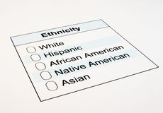 US Ethnicity Form Stock Images
