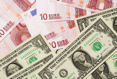 US and Euro currencies Royalty Free Stock Images