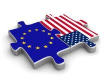 US-Europäermitarbeit Stockfoto