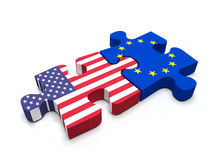 US - European Union Puzzle Royalty Free Stock Photography
