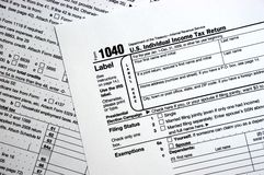 US Federal 1040 Tax Form, Plain Forms Concept. The United States 1040 IRS Tax Form. Argh! No fancy concepts here for those who would like it that way. Horizontal Royalty Free Stock Photography