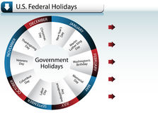 US Federal Government Holidays. An image of US Federal Government Holidays - wheel style Royalty Free Stock Photos