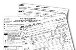 US Federal Income Tax Forms Stock Photo