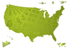 Us financial map. Illustration of north america in green with financial figures Stock Photos