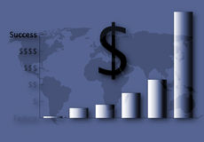 US Financial Success. Bar graph indicating USA financial success against a world map background, economy Royalty Free Stock Images