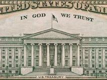 US-Finanzministerium von der Rückseite von zehn Dollar bil Stockbild