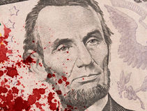 US five Dollar bill, close up, blood Stock Photography