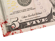 US five Dollar bill, close up, blood Royalty Free Stock Images